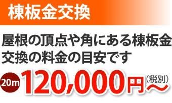 棟板金交換20m、120000円~