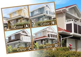 実際の仕上がりイメージはカラーシミュレーションや施工事例でお見せしております