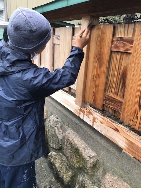新潟市北区のお宅で木塀のウッドロングエコ塗装仕上げ
