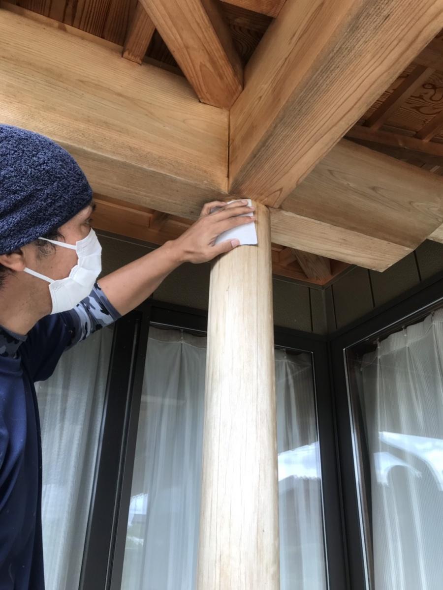 新潟市北区木塀塗装メンテナンス工事着工しました