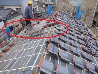 葺き替え工事 葺き替え 瓦上げ ウィンチ