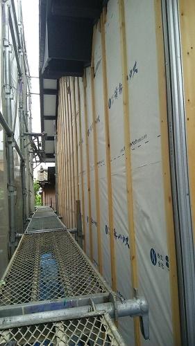 外壁張替工事、下地造り