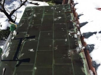 工事前 雪下ろし 銅板屋根