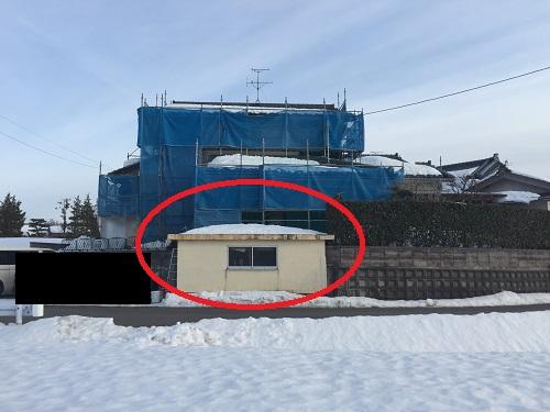 手摺撤去後 車庫屋根屋上 フェンス取付工事