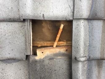 瓦復旧 銅線 固定
