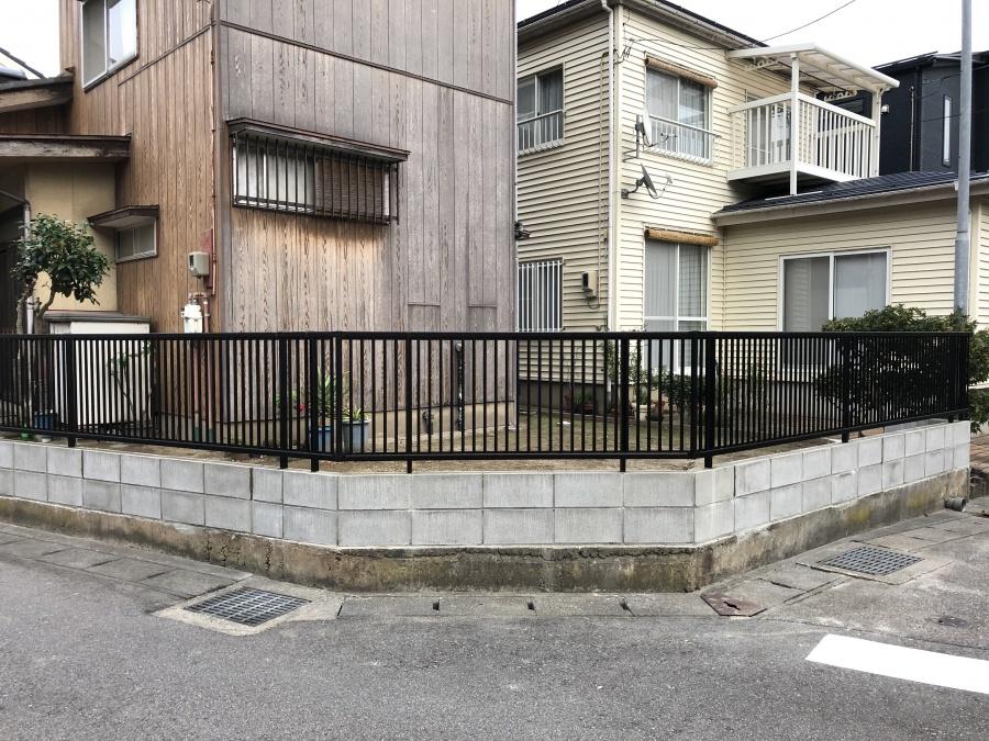 ブロック塀からフェンス設置工事
