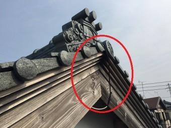 新規アンテナ 取付部分 破風板 棟木