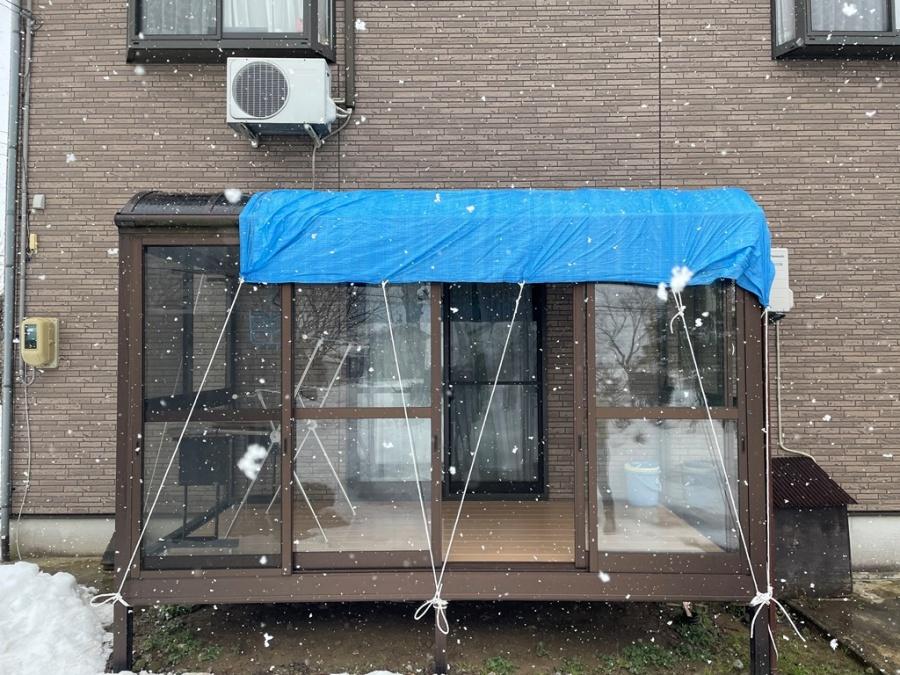 サンルーム上部に屋根造作