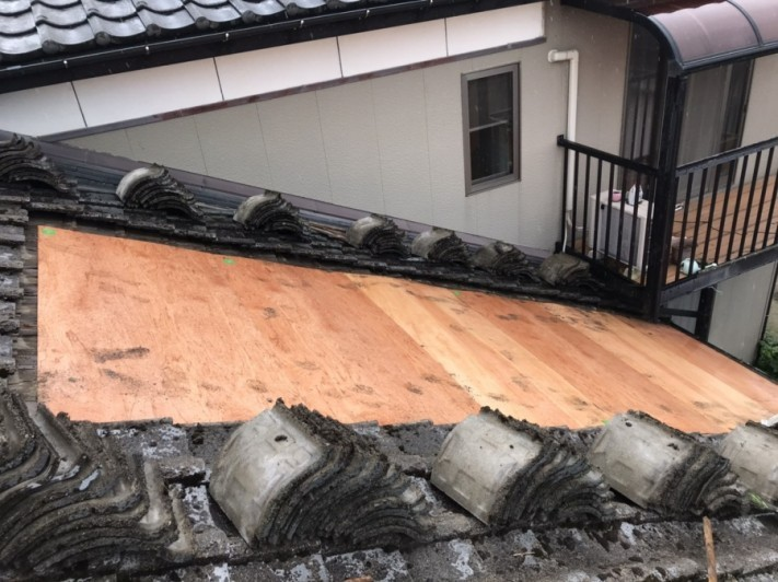 築50年のセメント瓦屋根雨漏り修繕工事