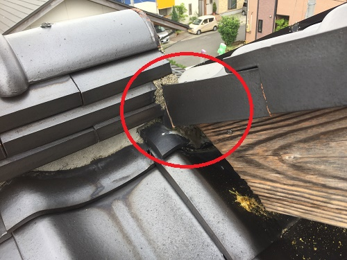 棟違い屋根 雨水侵入箇所