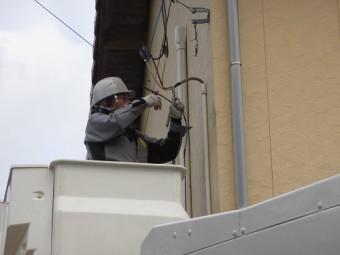 外壁交換工事のための電話線一時撤去