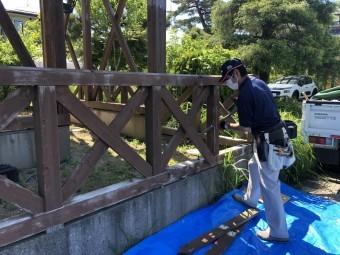 木製フェンス撤去工事