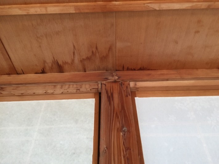 縁側 雨漏れ 天井染み
