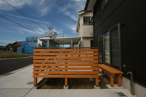 新潟市西区 木部塗装 木塀 デッキ