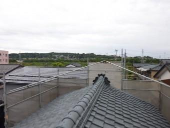 屋根葺き替え工事 仮設足場設置