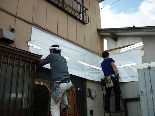 玄関屋根解体 防水紙施工