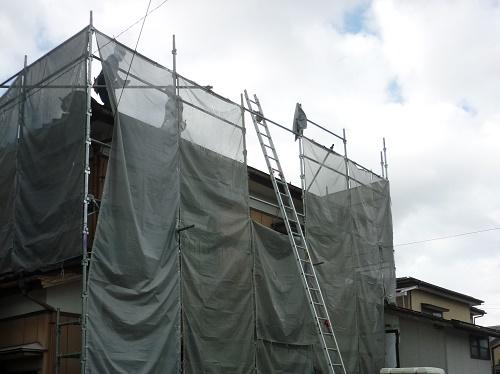 瓦屋根解体 仮設足場設置