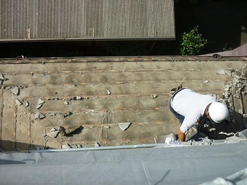 瓦屋根解体工事 1階瓦屋根解体