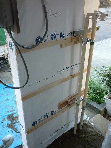 外壁下地 ガス管設置