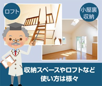 小屋裏は収納スペースやロフトなど使い方は様々